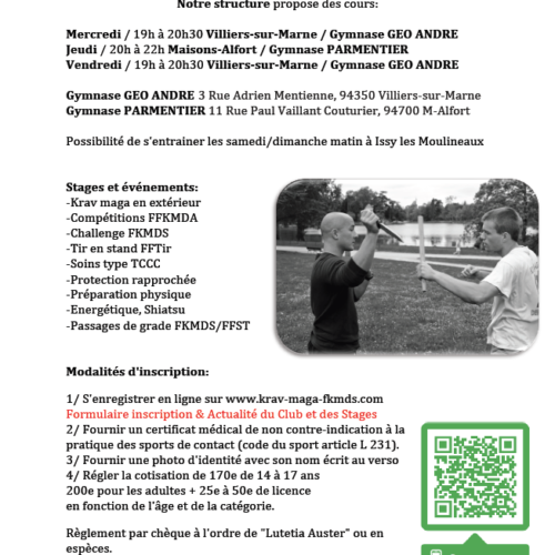 reprise des cours le 9 septembre à Paris 19, Villiers-sur-Marne et Maisons-Alfort